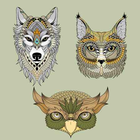 owl illustration: attractive animal head collection coloring page in exquisite line