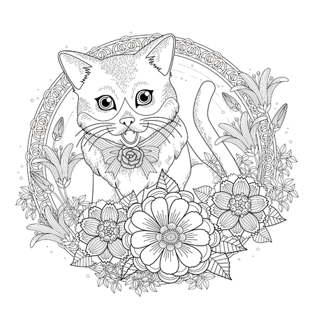 kitty: adorable kitty coloring page with floral wreath in exquisite line Illustration