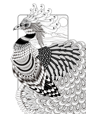 sumptuous: sumptuous peacock coloring page in exquisite line
