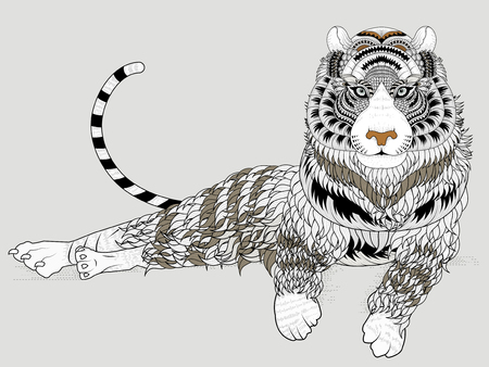 tiger page: attractive tiger coloring page in exquisite line
