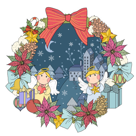 christmas night: Christmas wreath coloring page with decorations in exquisite line