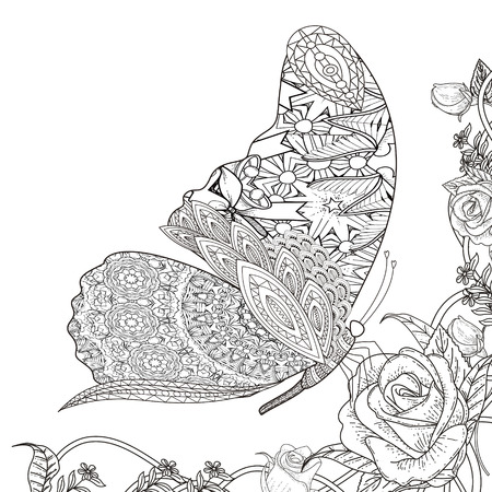 complex: beautiful butterfly with floral elements coloring page in exquisite line