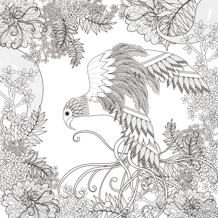 bird feathers: beautiful flying bird coloring page with floral elements in exquisite line