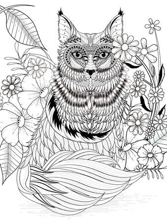 zorro: adorable para colorear zorro con elementos florales en línea exquisita