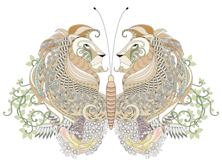 animal hair: creative butterfly coloring page with floral elements in exquisite line Illustration