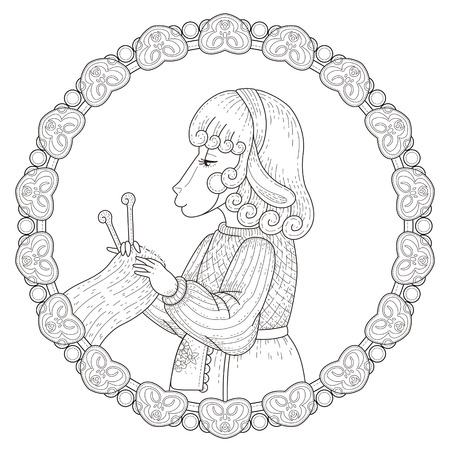 adorable sheep coloring page with floral elements in exquisite line  イラスト・ベクター素材