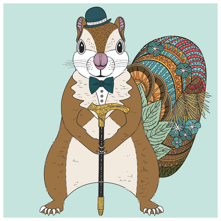 black boy: adorable squirrel coloring page in exquisite line
