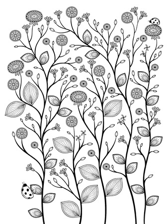 animal vein: elegant spring plants coloring page in exquisite line