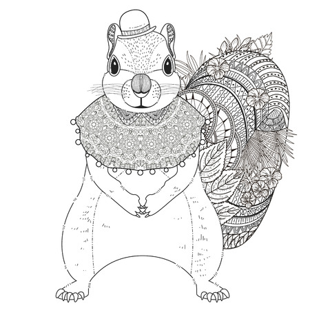 stylish boy: adorable squirrel coloring page in exquisite line