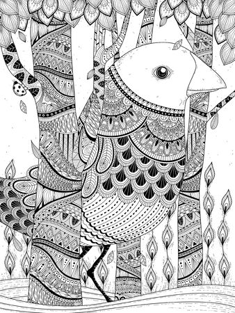 animal outline: fantastic giant bird coloring page in exquisite line Illustration