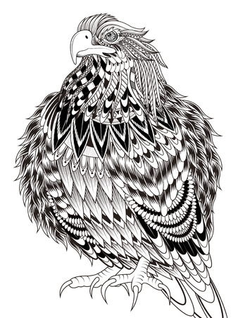line drawing: imposing eagle coloring page in exquisite line