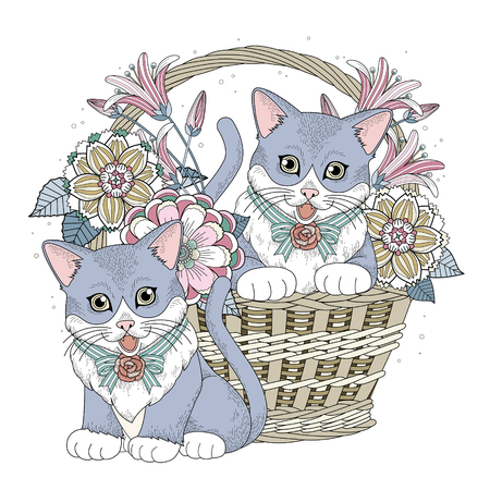 lily leaf: adorable kitty in basket coloring page in exquisite line