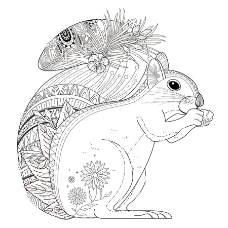 monochrome: adorable squirrel coloring page in exquisite line