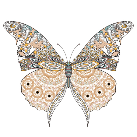 exquisite: beautiful butterfly coloring page in exquisite line