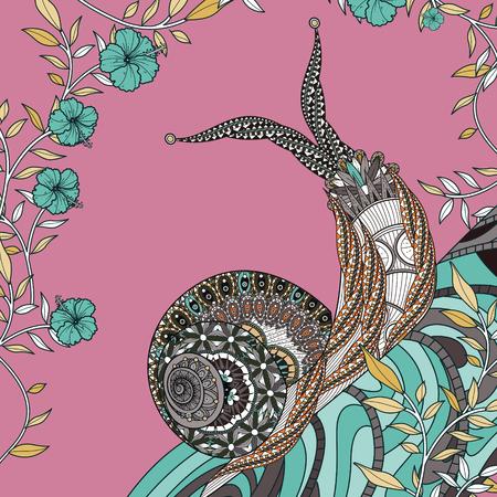 exquisite: elegant snail coloring page in exquisite line Illustration