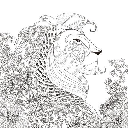 lijntekening: aantrekkelijk leeuw kleurplaat met bloemen elementen in prachtige lijn