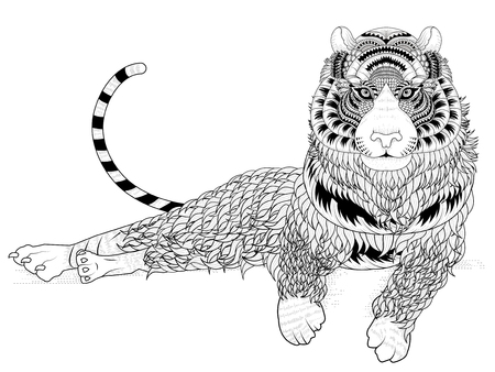attractive tiger coloring page in exquisite line