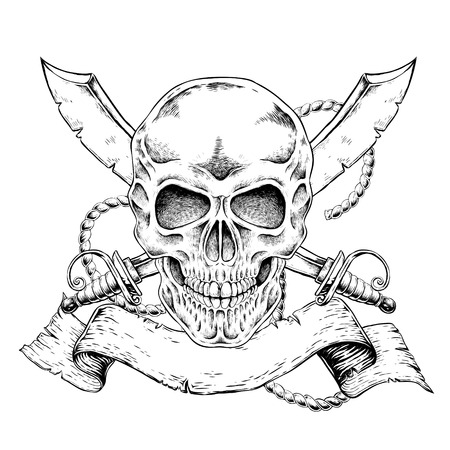 crossbone: hand drawn skull with banner in exquisite style