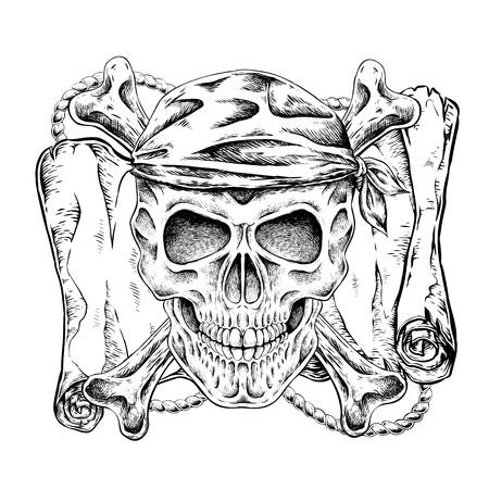 muerte: dibujado a mano del cráneo del pirata en un estilo exquisito Vectores