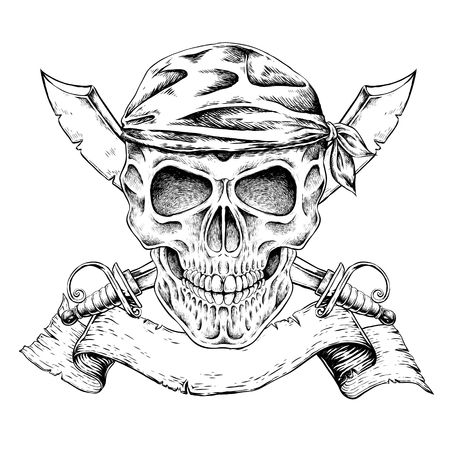 calavera pirata: dibujado a mano del cráneo del pirata en un estilo exquisito Vectores