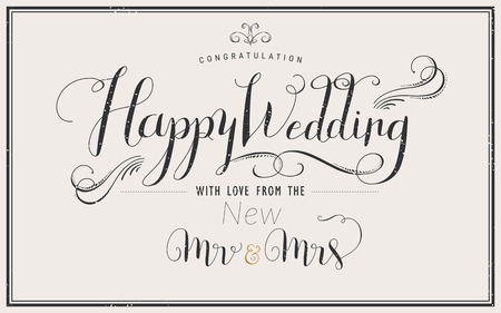 happy wedding: elegant Happy Wedding calligraphy design invitation and poster Illustration