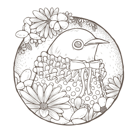 anthropomorphic: dressed up cute bird coloring page in exquisite line style