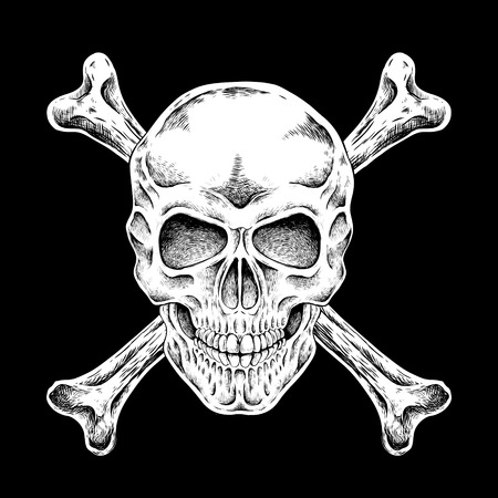 crossbone: hand drawn skull in exquisite style over black background Illustration