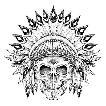 dibujado a mano del cráneo del estilo de la India en un estilo exquisito