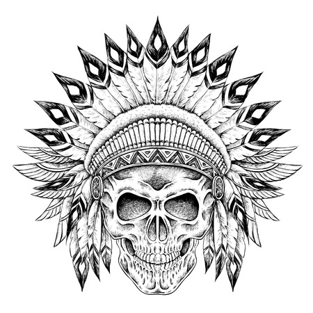 hand drawn Indian style skull in exquisite style