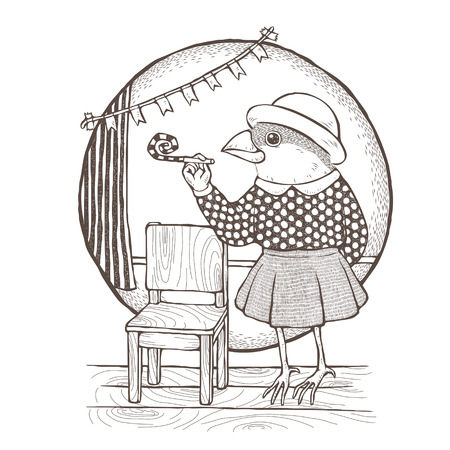 anthropomorphic: coloring page of lovely lady bird in dress