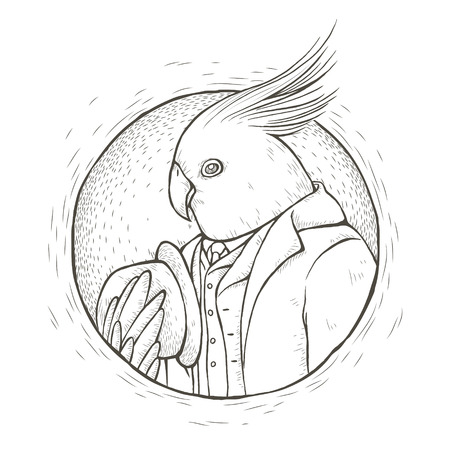 tattoo design: gentleman parrot coloring page in exquisite line style