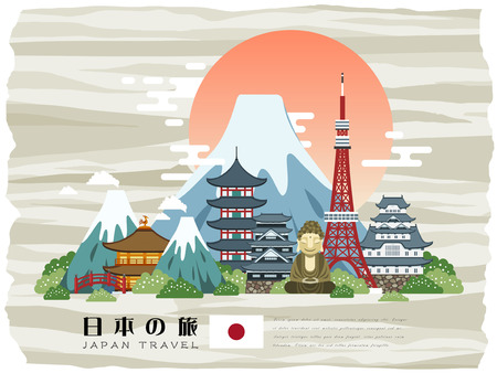 attractive Japan travel poster - Japan Travel in Japanese words Çizim