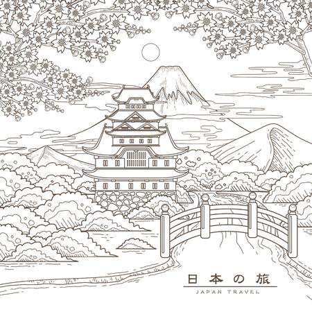 ponte giapponese: attraente manifesto di viaggio in Giappone con Sakura - Japan Travel nelle parole giapponesi