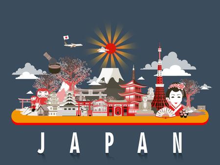 agréable Japon Voyage conception de l'affiche avec des attractions