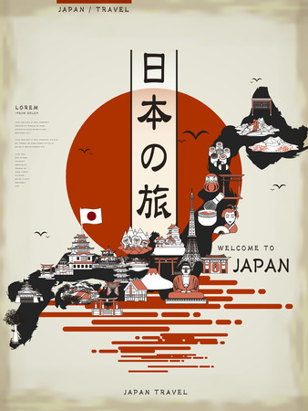 travel japan: retro Japan travel map design with attractions - Japan travel in Japanese words