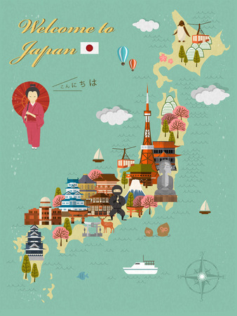 attractive Japan travel poster - Hello in Japanese words Illustration