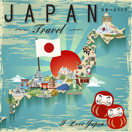 hot spring: attractive Japan travel map design - Welcome to Japan in Japanese words