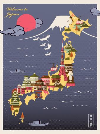 reise retro: Retro-Japan-Reise-Plakat mit Attraktionen - Japan-Reise in den japanischen Wörtern