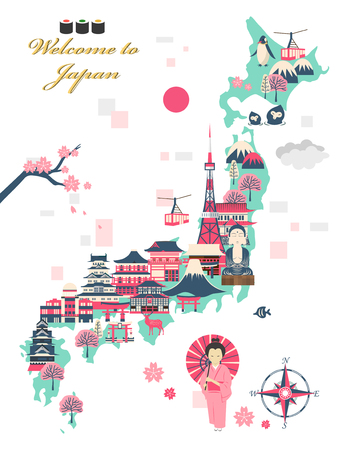 attractions: lovely Japan travel poster design with attractions Illustration