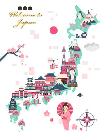 Voyage belle conception de l'affiche au Japon avec des attractions