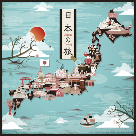 retro Japan travel map design - Japan travel in Japanese words
