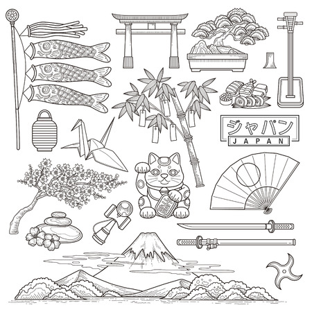 fuji mountain: exquisite Japan travel elements collection in line style - Japan country name in Japanese words Illustration
