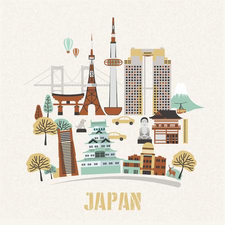 bombe atomique: belle Japon conception de l'affiche de Voyage dans le style plat Illustration