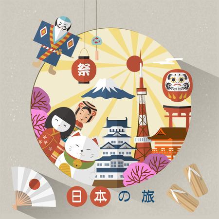 preciosa cartel del viaje de Japón - Japón Viajes y Festival de las palabras japonesas Ilustración de vector