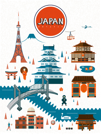 travel japan: exquisite Japan travel poster design - Welcome to Japan in Japanese words