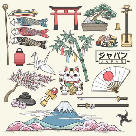 japonais: exquis Japon éléments de voyage collection dans le style de ligne - Japon nom du pays dans les mots japonais