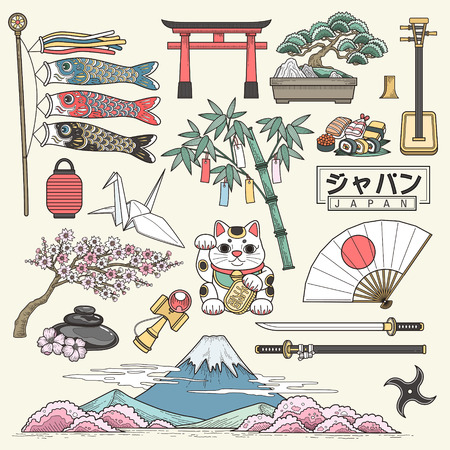 exquisite Japan travel elements collection in line style - Japan country name in Japanese words Vectores