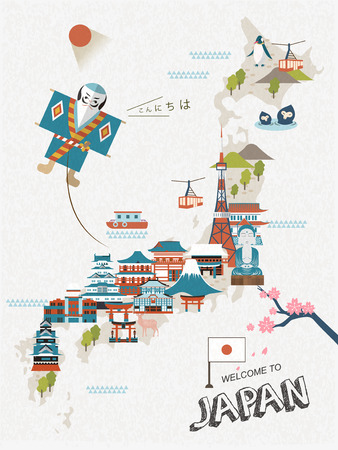 flying monkey: lovely Japan travel poster design with attractions Illustration