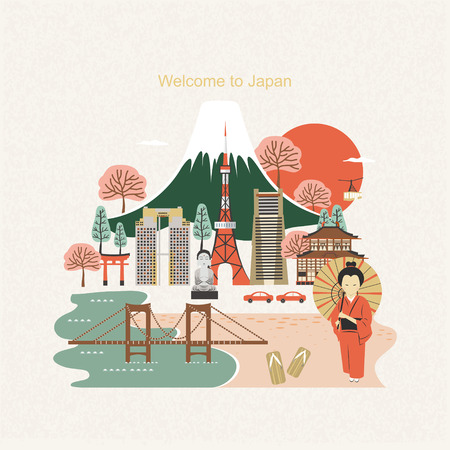 플랫 스타일의 사랑스러운 일본 여행 포스터 디자인