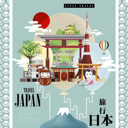 travel japan: attractive Japan travel poster design - Japan travel in Japanese words